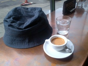The holy trinity - espresso, water, silly hat