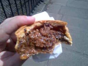 Partially eaten steak pie