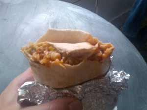 Partially eaten burrito