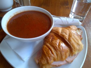 Soup and croissant