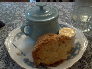 Scone and soup pot