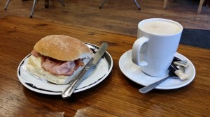 Bacon roll and latte