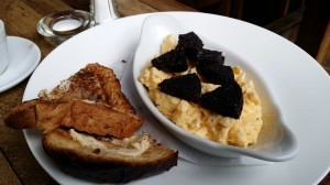 Eggs, black pudding and toast