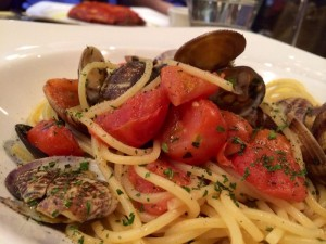 Spaghetti vongole - over-seasoned sadness, from Osteria del Tempo Person