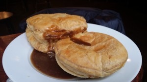 Steak pie and haggis, cheese & chilli pie