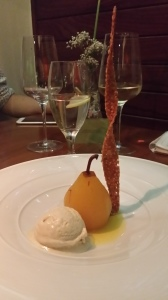 Poached pear dessert
