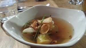 Roots, leeks, broth