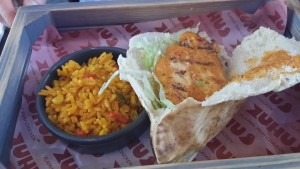 Chicken pitta and spiced rice