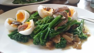 Eggs, broccoli, anchovies