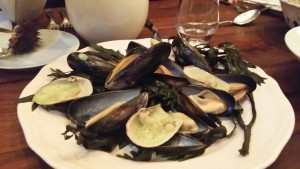 Soft shell clams and smoked juniper mussels