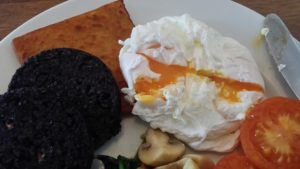 Egg ooze and black pudding