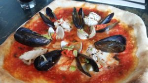 Seafood pizza from Wildmanwood